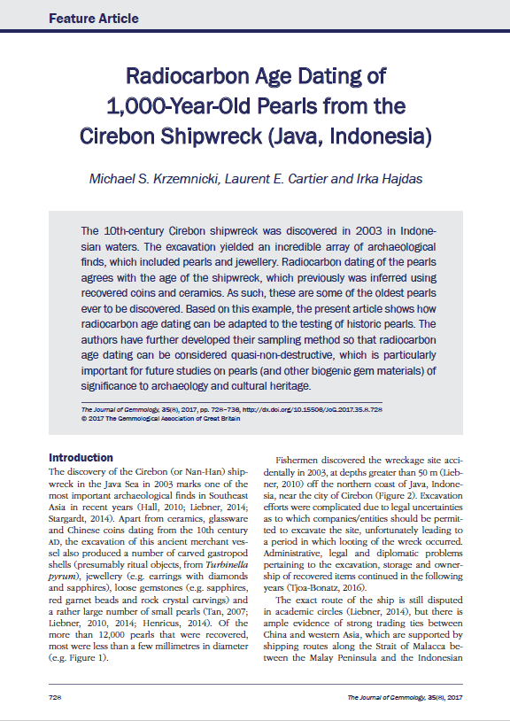 Radiocarbon Age Dating of 1,000-Year-Old Pearls from the Cirebon Shipwreck (Java, Indonesia)