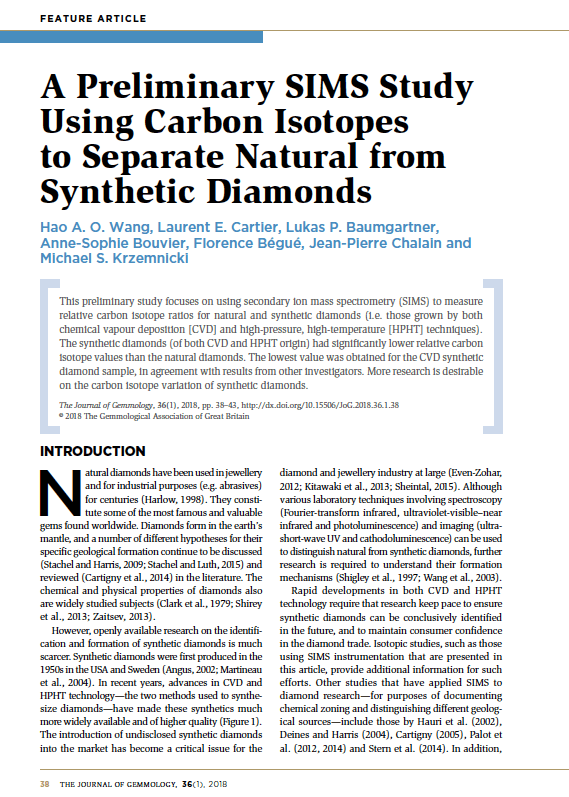 A Preliminary SIMS Study Using Carbon Isotopes to Separate Natural from Synthetic Diamonds