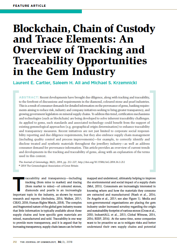 Blockchain, Chain of Custody and Trace Elements: An Overview of Tracking and Traceability Opportunities in the Gem Industry