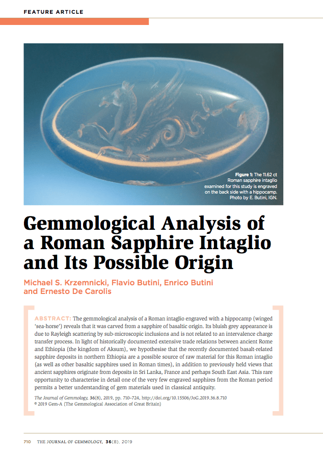 Gemmological Analysis of a Roman Sapphire Intaglio and Its Possible Origin